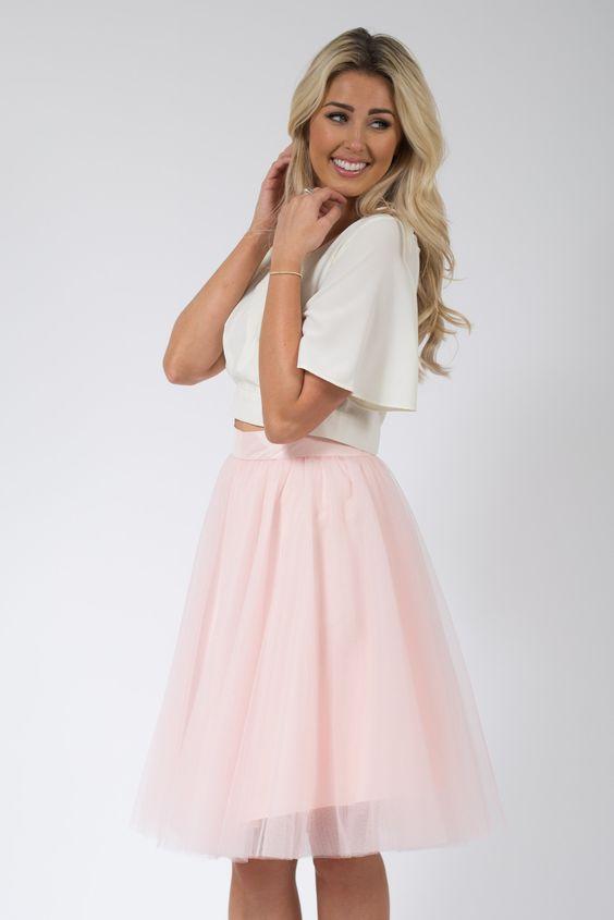 after knee length tulle skirt blush pink