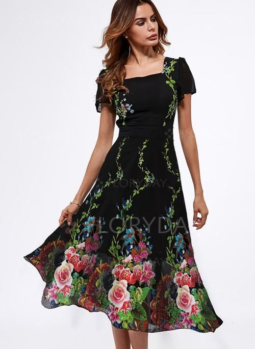 Floral Short Sleeve Midi A Line Dress Floryday Elbiseler Cicekli Elbiseler Tarz Elbiseler