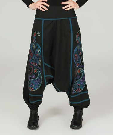 Another great find on #zulily! Black & Turquoise Paisley-Embroidered Harem Pants #zulilyfinds