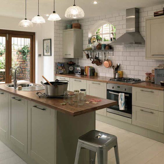 Shaker grey kitchen metro tiles and industrial stools for Metro tiles kitchen ideas