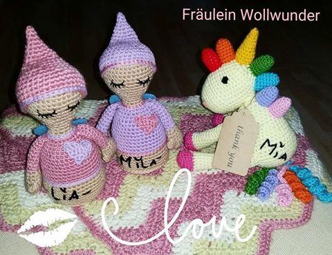 Träumerli * girl * schwestern * Sister * Amigurumi *  Regenbogen Einhorn * gehäkelt * crochet   https://www.facebook.com/fraeuleinwollwunder