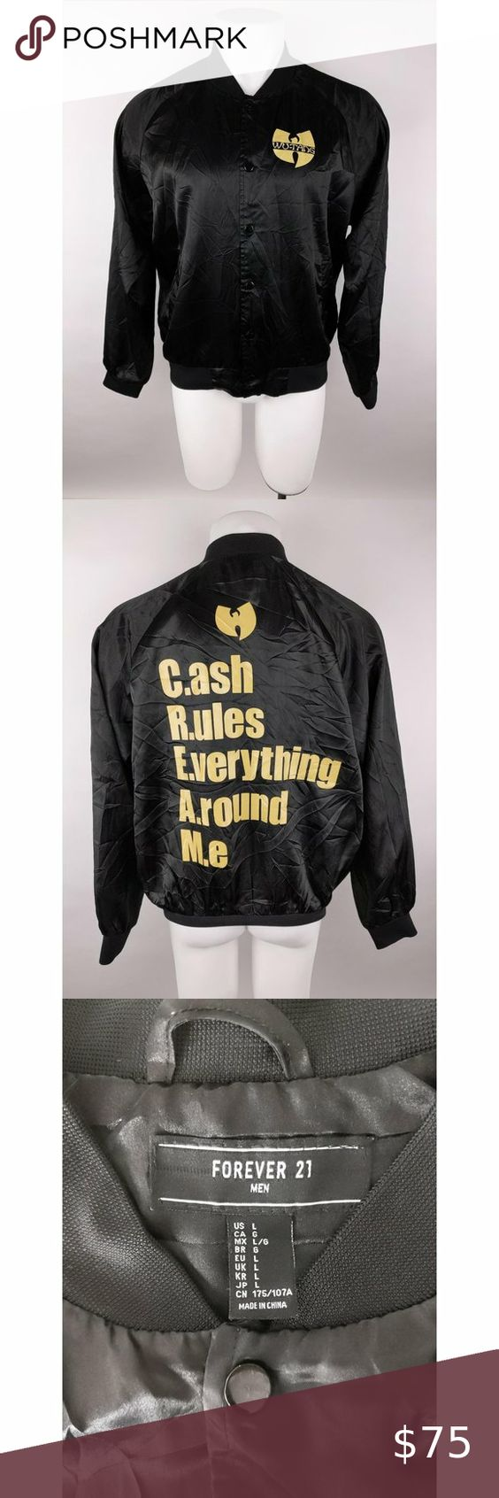 Forever 21 Snap Front Wu Tang Clan Bomber Jacket Men Black Cream Snap Front Very Good Conditio Forever 21 Mens Jacket Lined Denim Jacket Olive Bomber Jacket [ 1692 x 564 Pixel ]