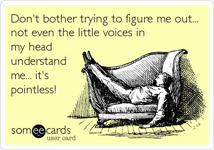 Don't bother trying to figure me out... not even the little voices in my head understand me... it's pointless!