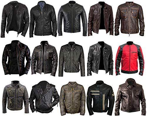 Mens Grey Brando Biker Cafe Racer Motorcycle Real Leather Jacket
