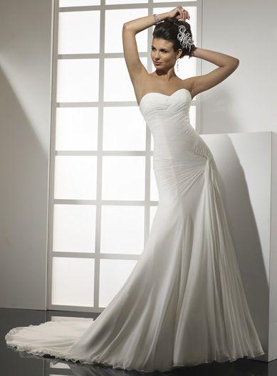 Pretty A-line dropped waist chiffon wedding dress
