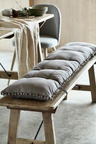 Buy Pom Pom Bench Pad From The Next Uk Online Shop In 2020 Dining Bench Cushion Dining Table With Bench Dining Benches