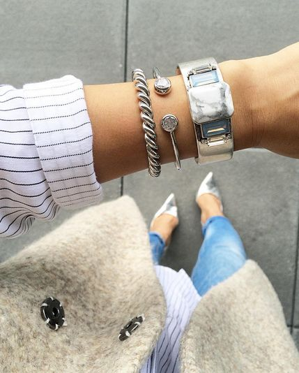 olive and piper brooklyn howlite cuff is a must have staple this fall | affordable + trendy || shop #silver #boho #bracelets #cuff #marble