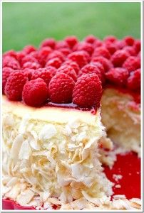 Toasted Coconut and Raspberry Cheesecake