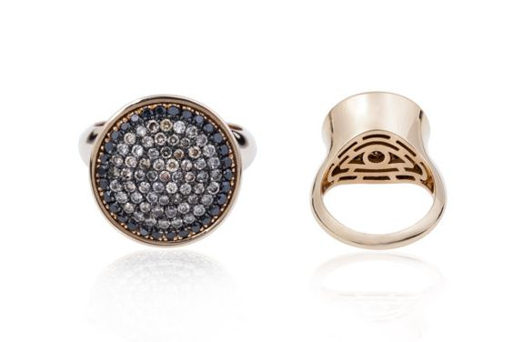 18K pink gold cocktail ring  with black and brown diamonds on Etsy, $2,700.29 AUD