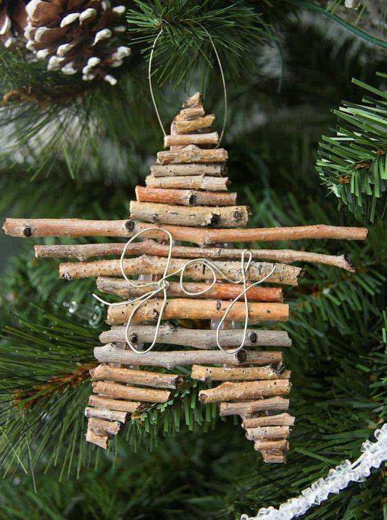 ornement pour l'arbre de Noël très original à partir de brindilles et fil métallique