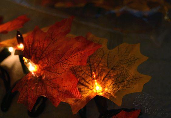Maiden D'Shade: Halloween Mantel  DIY fall leave lights great idea!!!
