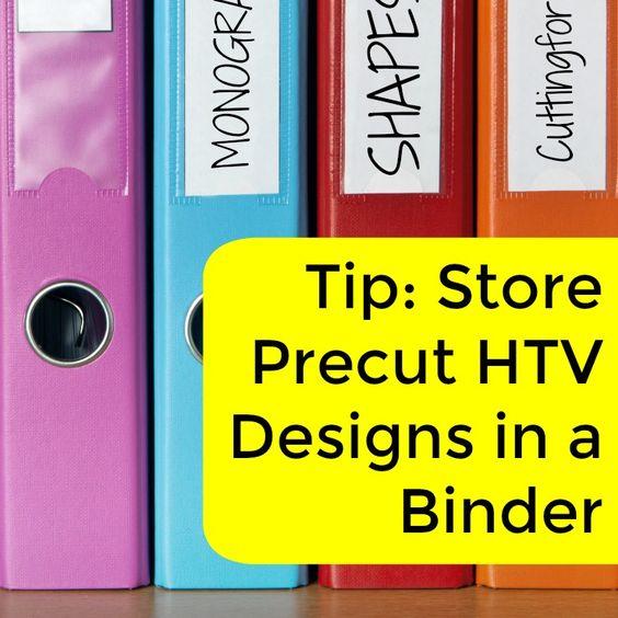 Store your pre-cut heat transfer vinyl (HTV) designs in a binder