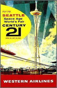 Western Airlines 1962 Seattle Washington Space Age Fair Vintage Poster Print