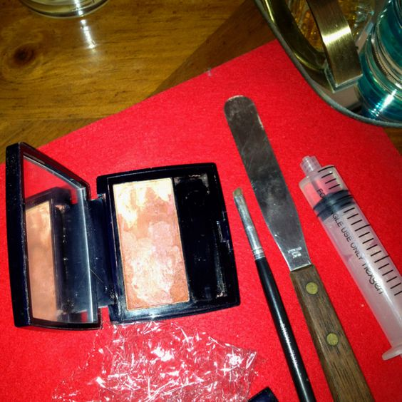 Thanks to Pinterest I rescued my broken blush & blended it into two shades Tools: plastic wrap, 70% alcohol, eyeliner brush, spatula, a dropper or syringe. Wrap the plastic around the broken blush and mash it with the spatula, add alcohol, smooth it over, soften the edges and it'll be like new. Love it!!