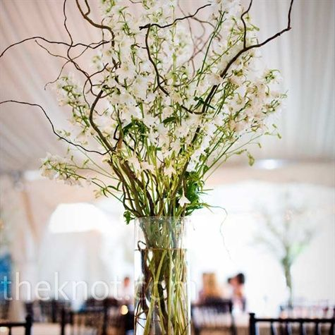 Some of the centerpieces will feature a tall hour glass vase filled with birch branches, blue delphinium, and white stock flower with hanging candles.