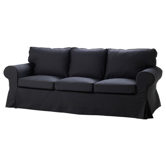 Ikea Ektorp Slipcover 3 Seat Seater Sofa Cover Idemo Black Denim Cotton Ikea Pinterest