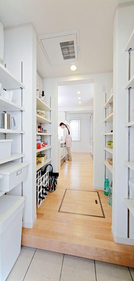 パントリー Ⅱ型 オープン 可動棚 土間 床下収納 イメージ