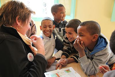 Belle rencontre à l'école d'Haroune...pour Laetitia Chevallier, présidente de l'association Item Category Parrainer - Enfants Du Désert