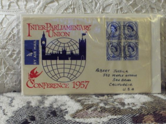 http://ajunkeeshoppe.blogspot.com/  First Day Issue/Cover-Stamp-Inter Parliamentary 1947 4d 8ozP725B4HP1183