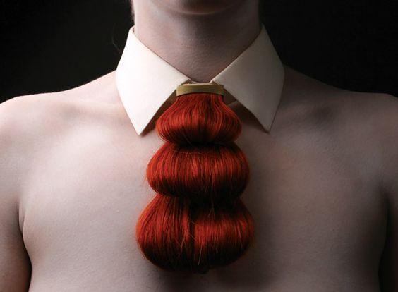 "Untitled (""a hairy tale""), Nina Khazani, Human hair, gold-plated brass and linen - Royal College of Art 2012 dregree show:"
