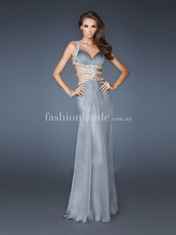 Super Sexy Chiffon Dress With Beaed Straps - Prom Dresses Australia   Shop Online at Wedding Shop Fashionlande Australia - $105.99 ^ little bit risque but I think it's cool and I like the shade of grey