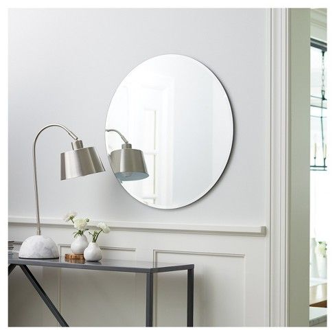 Round Frameless Decorative Wall Mirror, How To Hang A Glass Mirror Without Frame