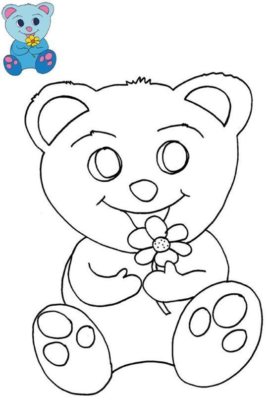 Coloriage Avec Modele Pour Les Enfants De 2 A 4 Ans A La Tres Tres Petite Maternelle Coloriage Nounours Coloriage Dessin Basique