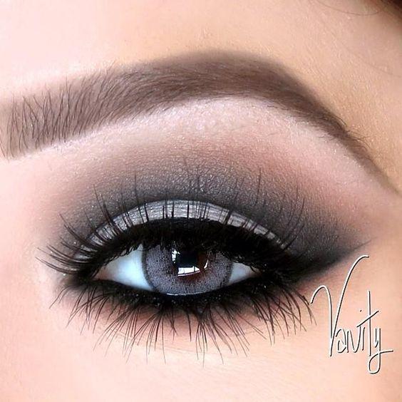 Grey and black dramatic #eyes #eye #makeup #eyeshadow #smokey #bold: