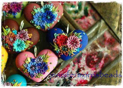 Polymer clay hearts: