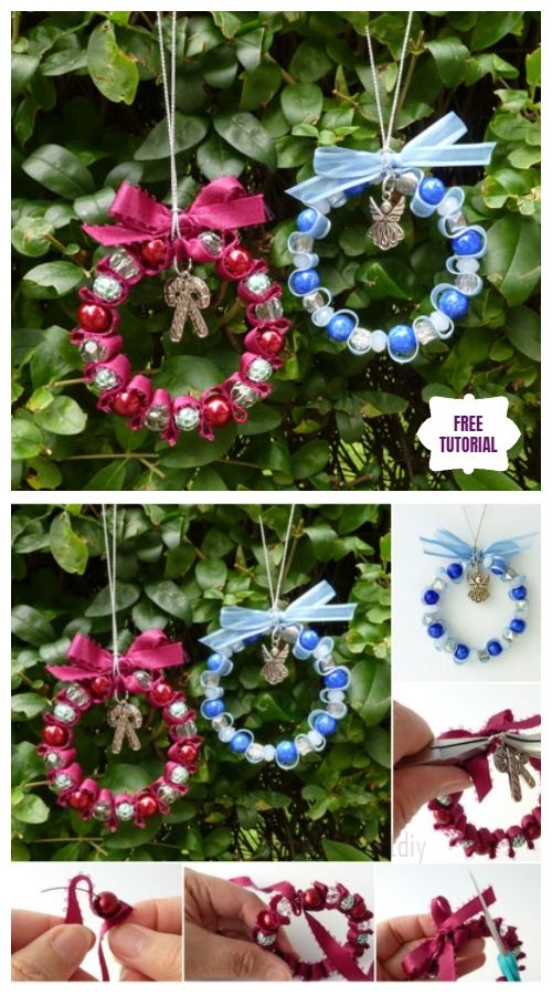 Diy Bead Ribbon Wreath Christmas Ornament Tutorials With Images