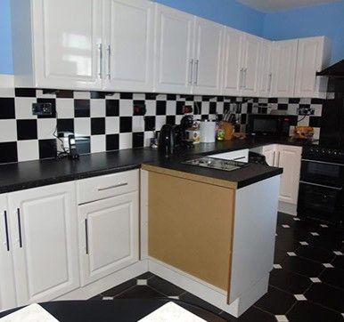 Black And White Combo Kitchen Wall Tiles Design Kitchendesign