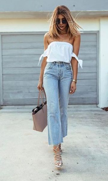 Look Blusa Ombro a Ombro + Cropped Jeans