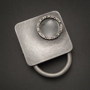 """Victoria Takahashi: Magnifier, Ring in sterling silver and magnifying glass. Square top measures 1 x 1""""  Size 9.5 (may be sized to fit)"""