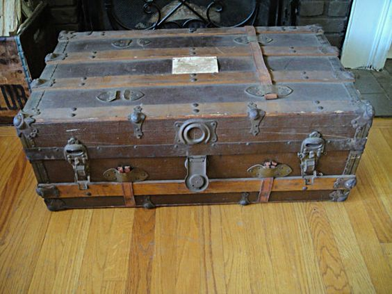 Antique Steamer Trunk Flat Top Coffee Table  by RustyNailDesign, $229.00
