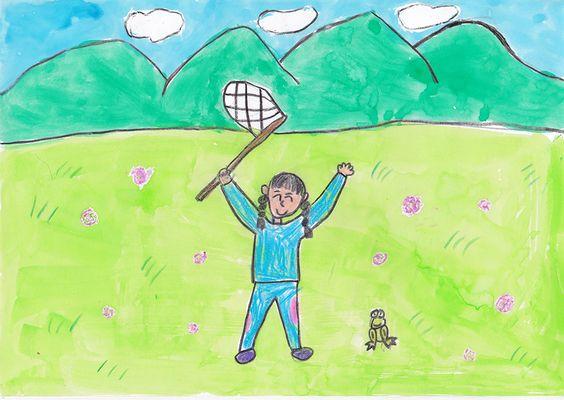 ■■■会津若松市立行仁小学校/2年生/女の子■■■ 【作品タイトル】たのしかったにし会づのキャンプ【伝えたい事】にし会づでキャンプをしたとき、とてもたのしかったです。山や田んぼなどしぜんがたくさんあって、あかつめ草もさいていました。とくに虫とりをして、かえるをつかまえたのがたのしかったです。