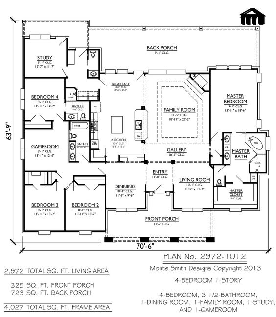 House plans cars and exercise rooms on pinterest - 4 bedroom 3 car garage house plans ...