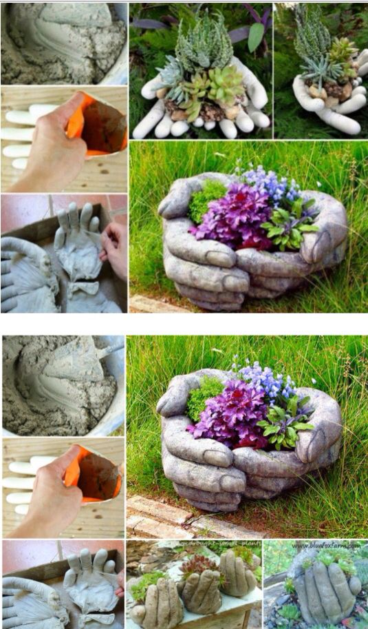 Cement hand planters pour casting concrete into rubber gloves being carefully to remove air - Casting concrete planters ...