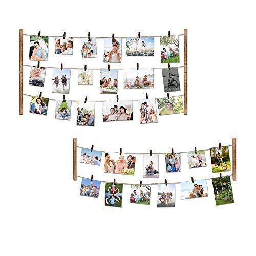 Love Kankei Wood Picture Photo Frame For Wall Decor 26 29 Inch With 30 Clips Ajustable Twine Picture Organization Picture On Wood Wall Hanging Photo Frames