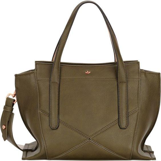 Nica Nabi Medium Grab Bag , Khaki (€49) ❤ liked on Polyvore featuring bags, handbags, khaki, brown bag, man bag, long handle handbags, brown purse and nica