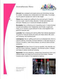 Aromatherapy Menu