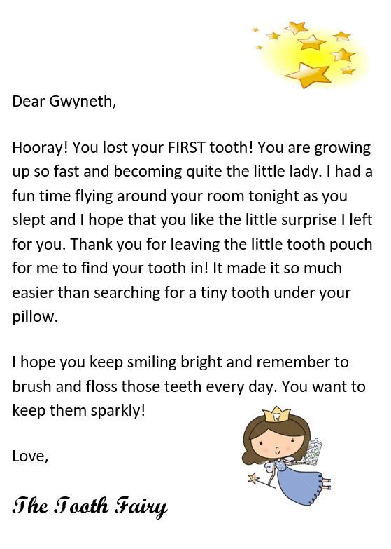 Tooth Fairy Letter Free Printable Tooth Fairy Letter Tooth