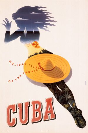 Vintage Travel Poster - Cuba. Unique design. Cut-out of a woman can be detected. Her body is made up of a beach scene. From her hair to her toes, the image works from the skyline to the shrubs, creating an eye-capturing print.