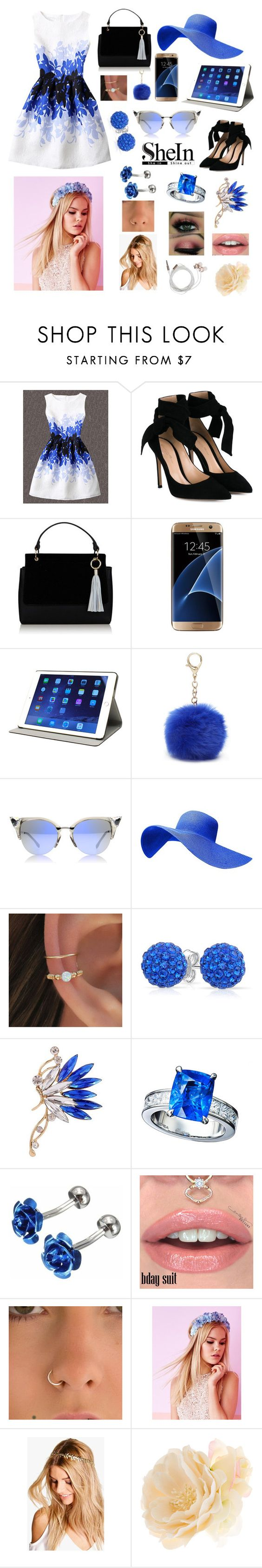 """Blue And Black"" by kaileewhaley13 ❤ liked on Polyvore featuring WithChic, Gianvito Rossi, Samsung, M-Edge, Nine West, Fendi, Bling Jewelry, Lipsy, Boohoo and Accessorize"