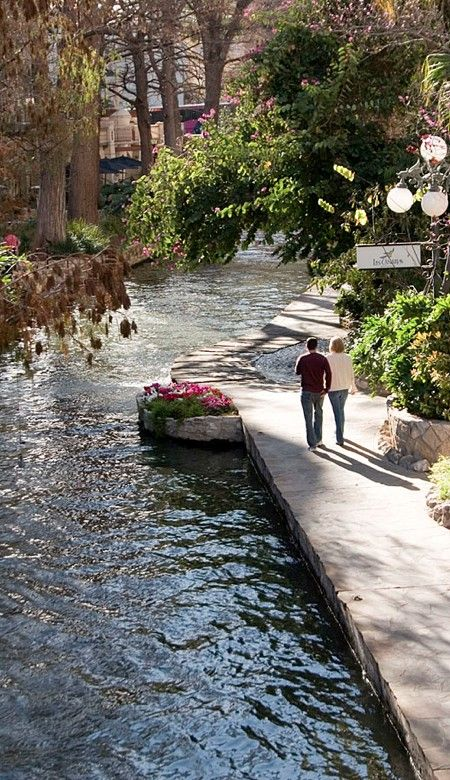 San Antonio River Walk, a network of walkways along the banks of the San Antonio River, one story beneath the streets of Downtown San Antonio, Texas.