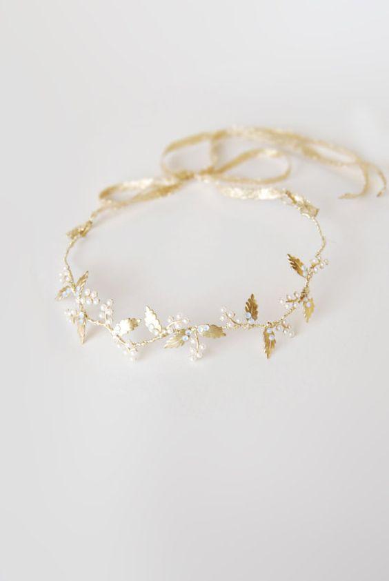 Wedding leaf headband pearl headpiece bridal hair vine by Elibre