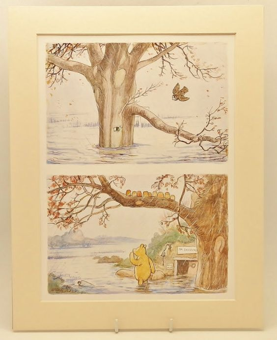 Vintage classic winnie the pooh baby room decor by for Classic winnie the pooh mural
