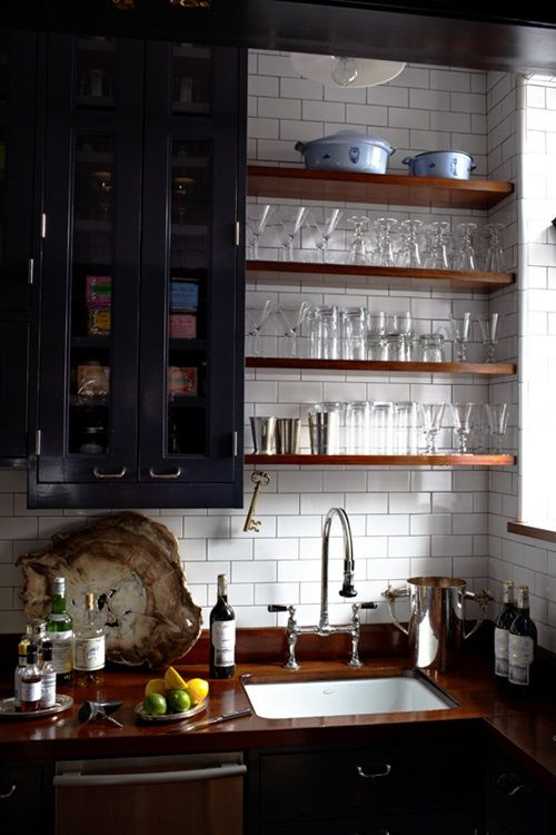 Open Shelves For Kitchen Dark Inspirations With Awesome