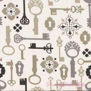 Sandi Henderson Secret Garden Lock and Key Khaki fabric#