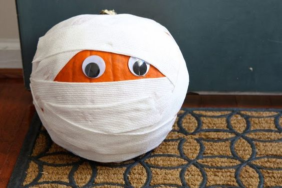 30 Insanely Creative Kid-Friendly No-Carve Pumpkins Mummy Pumpkin Mummy pumpkins are adorable indoors or out.