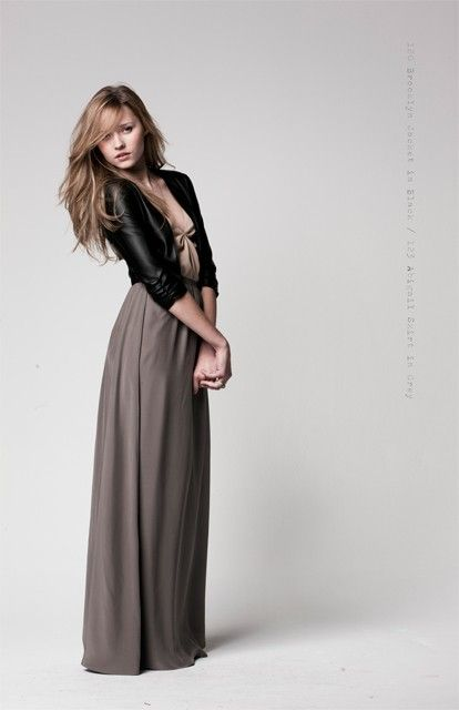 Long skirt or maxi dress with a cropped leather jacket.